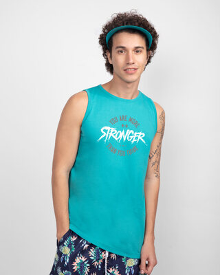 Shop You're More Stronger Round Neck Vest Tropical Blue-Front