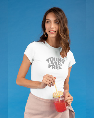 Shop Young & Wild Half Sleeve Printed T-shirt White-Front