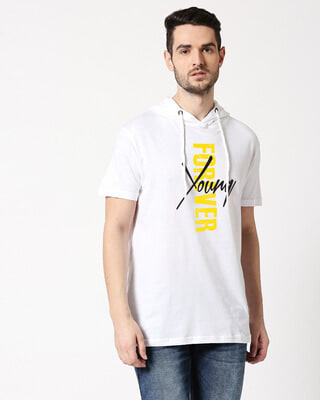 Shop Young forever Half Sleeve Hoodie T-Shirt White-Front