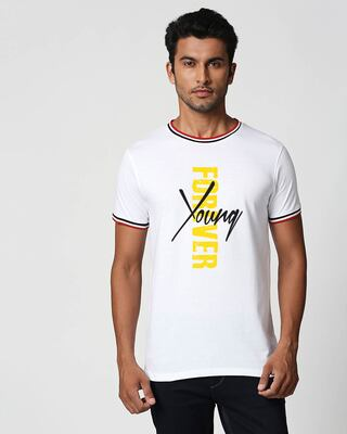 Shop Young Forever Side Crewneck Varsity Rib T-Shirt- Multicolor-Front