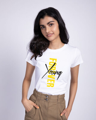 Shop Young Forever Side Half Sleeve T-Shirt-White-Front