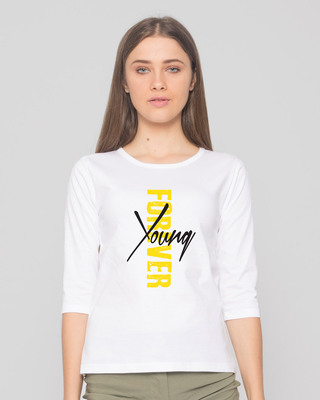 Shop Young Forever Side Round Neck 3/4th Sleeve T-Shirt-White-Front