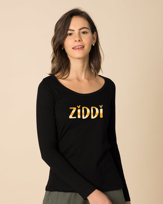 Shop Ziddi Scoop Neck Full Sleeve T-Shirt-Front