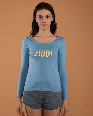 Shop Ziddi Scoop Neck Full Sleeve T-Shirt-Front