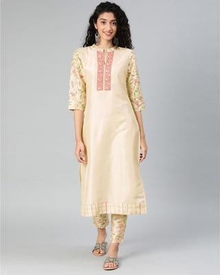 Shop Ziyaa Women's Cream Colour Solid Straight Polysilk Kurta-Front