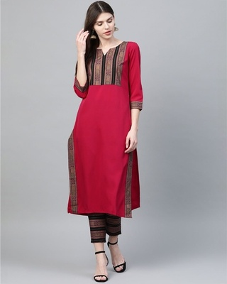 Shop Ziyaa Women's Dark Pink Colour Foil Print Straight Crepe Kurta-Front