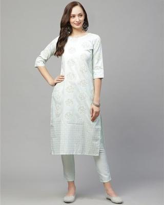 Shop Ziyaa Women's Green Colour Straight Art Silk Kurta-Front