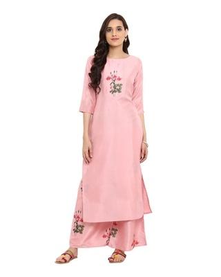 Shop Ziyaa women's Pink color Straight Digital Print Kurta-Front