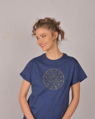 Shop Zodiac Signs Gold Print Boyfriend T-Shirt-Front