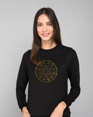 Shop Zodiac Signs Gold Print Fleece Sweaters-Front
