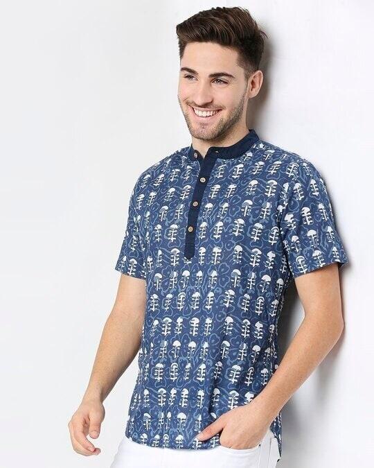 Shop Men's Printed Mandarin Collar T-Shirt-Front