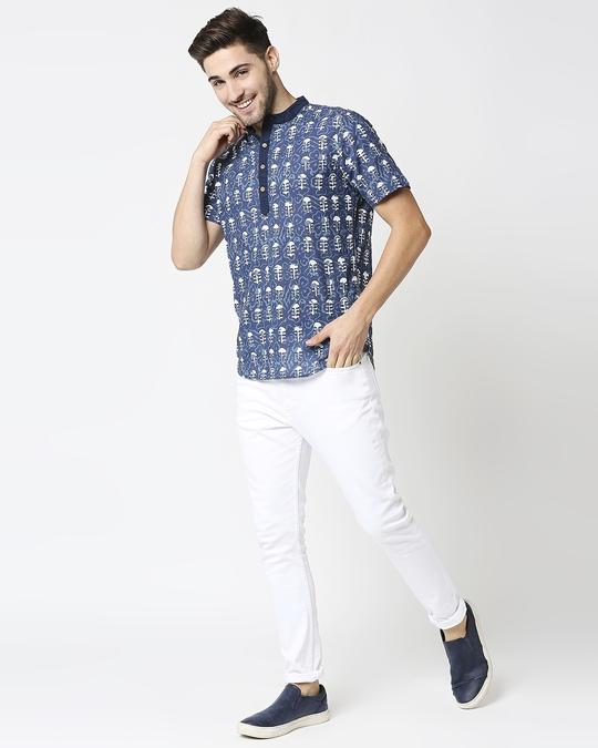 Shop Men's Printed Mandarin Collar T-Shirt