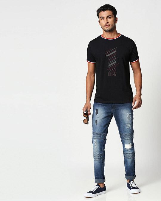 Shop 1 Life Crewneck Varsity Rib H/S T-Shirt-Multicolor-Full