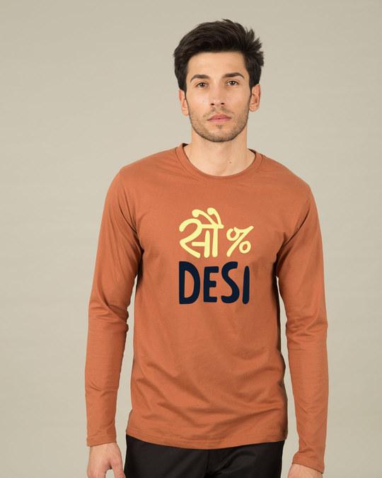 Shop 100% Desi Full Sleeve T-Shirt-Front