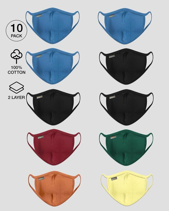 Shop 2-Layer Everyday Protective Mask - Pack of 10 (Prussian Bluex3-Jet Blackx3-Dark Forest Green-Scarlet Red-Vintage Orange-Pastel Yellow)-Front