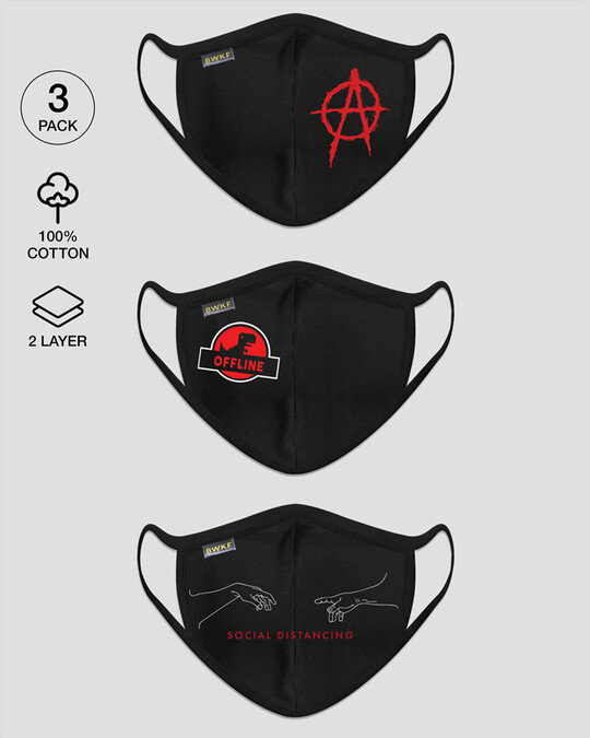 Shop 2-Layer Everyday Protective Mask - Pack of 3 ( An-archy Symbol! Offline Dino! Distancing Hands )-Front