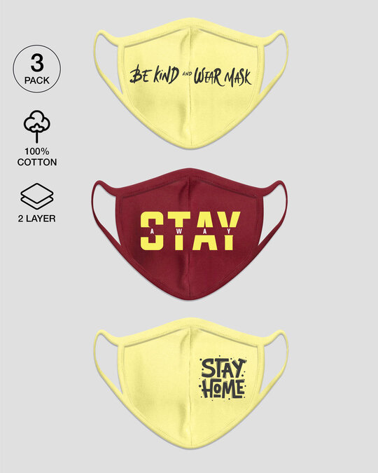 Shop 2-Layer Everyday Protective Mask - Pack of 3 ( Be Kind! Stay Away! Stay Home Everyday Mask )-Front