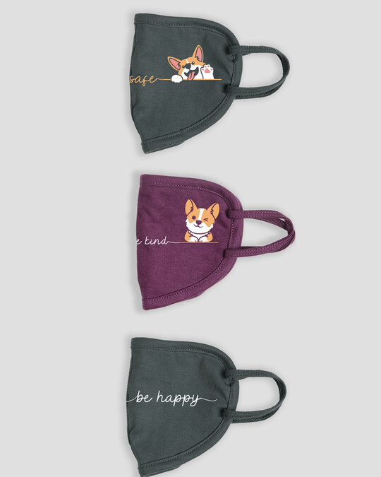 Shop 2-Layer Everyday Protective Mask - Pack of 3  ( Be Safe! Be Kind And Happy! Be Happy )-Design