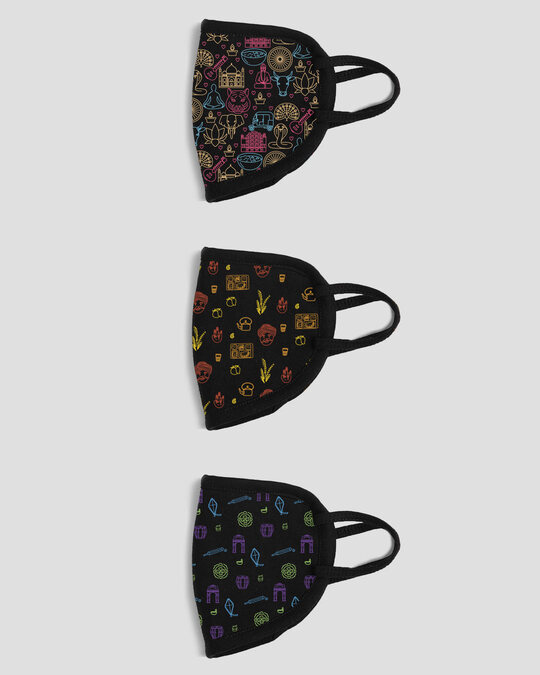 Shop 2-Layer Everyday Protective Mask - Pack of 3 ( Indian Doodle! Desi Doodle! Mystic India Doodle )-Design