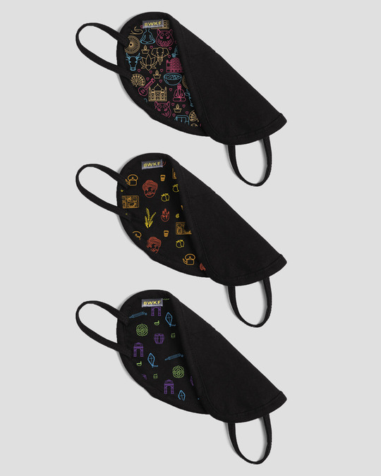 Shop 2-Layer Everyday Protective Mask - Pack of 3 ( Indian Doodle! Desi Doodle! Mystic India Doodle )-Full