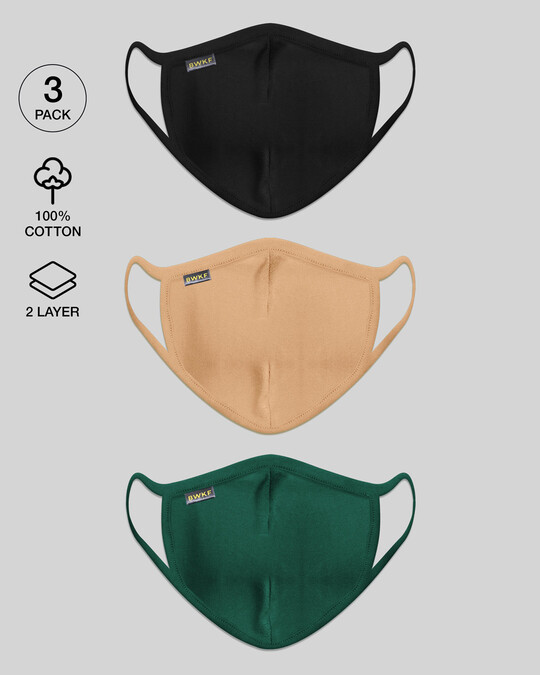 Shop 2-Layer Everyday Protective Mask - Pack of 3 (Jet Black-Dusty Beige-Dark Forest Green)-Front