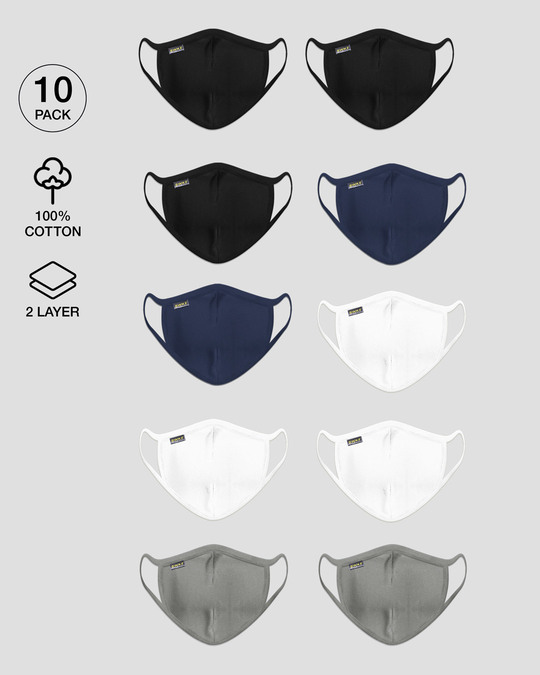 Shop 2 layer Everyday Protective mask Pack of 10(Jet Black *3-Galaxy Blue*2-White *3-Meteor Grey*2)-Front