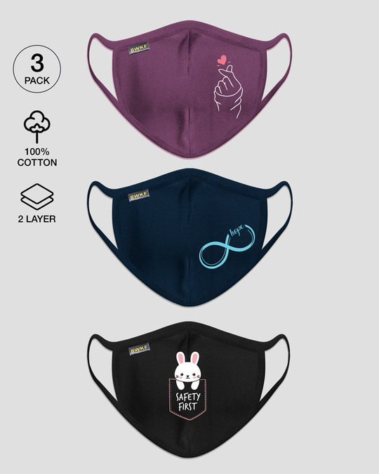 Shop 2-Layer Everyday Protective Mask Pack of 3 (Hand heart, Hope infinity, Safety first)-Front