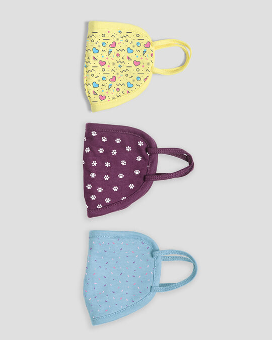 Shop 2-Layer Everyday Protective Mask Pack of 3 (Pastel pattern, paw print, sprinkles)-Design