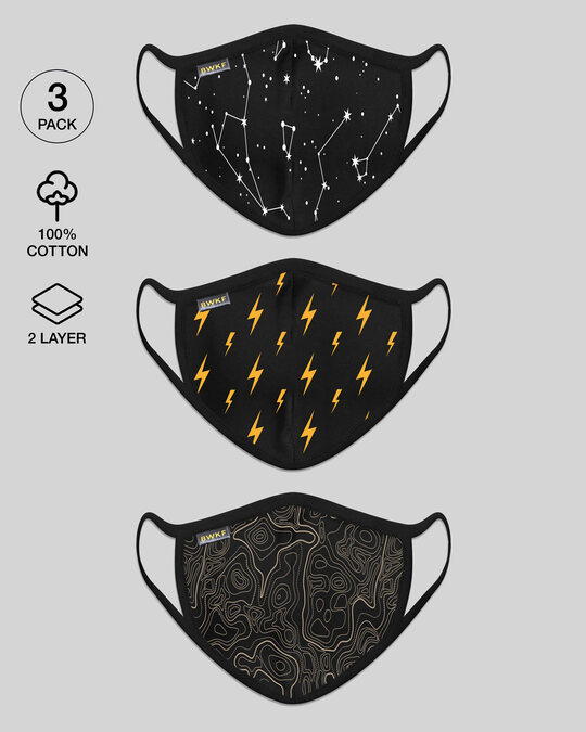 Shop 2-Layer Everyday Protective Masks - Pack of 3 (Constellations-Thunder Bolts-Swirl Pattern)-Front