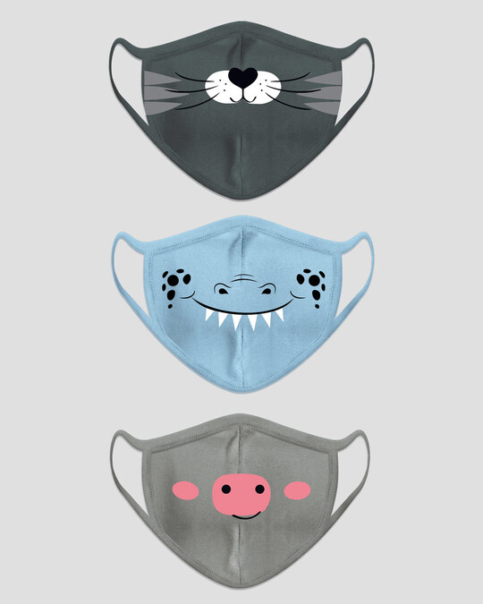 Shop 2-Layer Kid's Everyday Protective Mask - Pack of 3 (Hearty Kitty! Monsterman! Oink Oink)-Design
