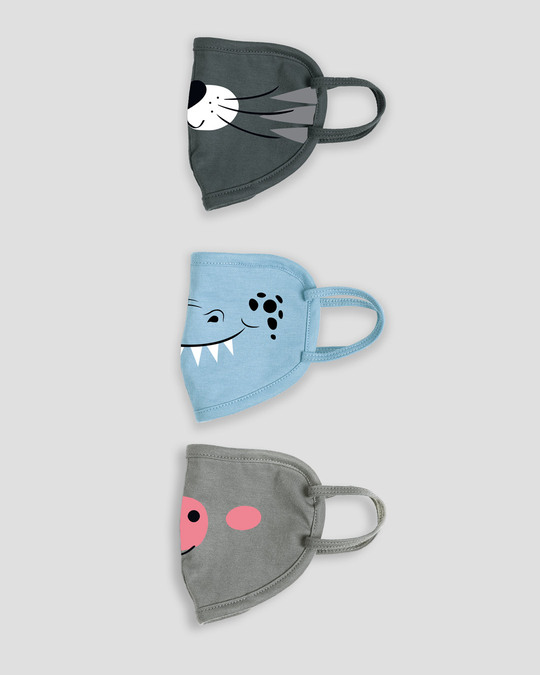 Shop 2-Layer Kid's Everyday Protective Mask - Pack of 3 (Hearty Kitty! Monsterman! Oink Oink)