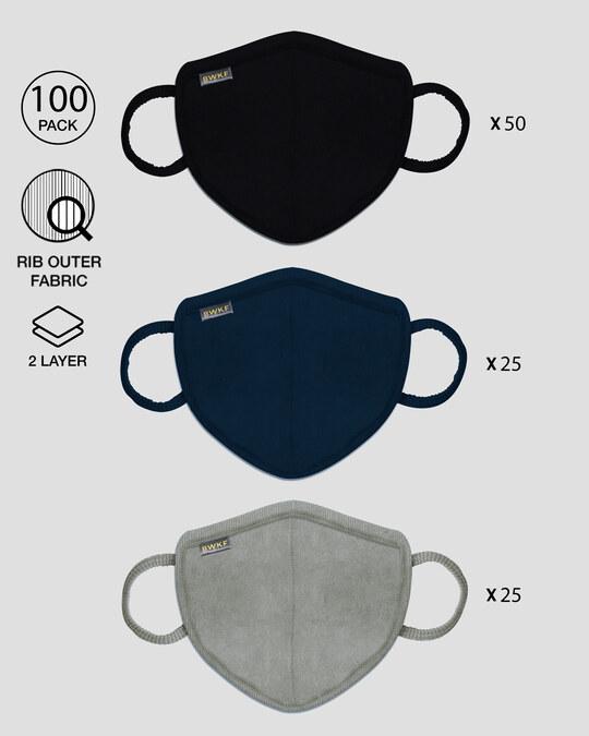 Shop 2-Layer Premium Protective Masks - Pack of 100 (Black-Blue-Meteor Grey)-Front