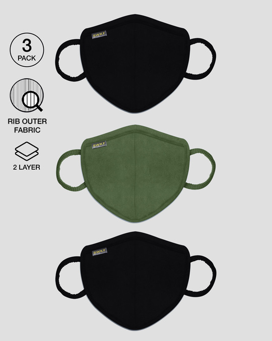 Shop 2-Layer Premium Protective Masks - Pack of 3 (Jet black-Dark olive-Jet black)-Front