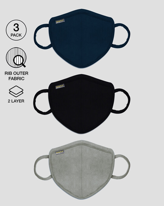 Shop 2-Layer Premium Protective Masks - Pack of 3 (Meteor grey-Blue Red-Jet black)-Front
