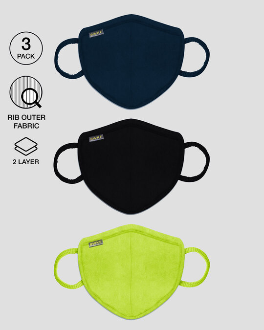 Shop 2-Layer Premium Protective Masks - Pack of 3 (Navy blue- Jet black- Neon green )-Front