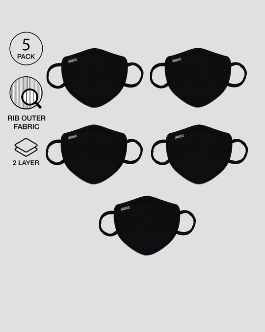 Shop 2-Layer Premium Protective Masks - Pack of 5 (Jet Black)-Front