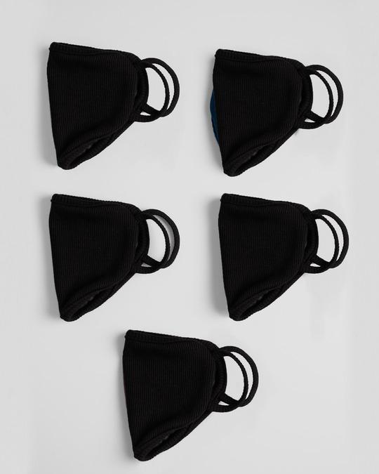 Shop 2-Layer Premium Protective Masks - Pack of 5 (Jet Black)-Design