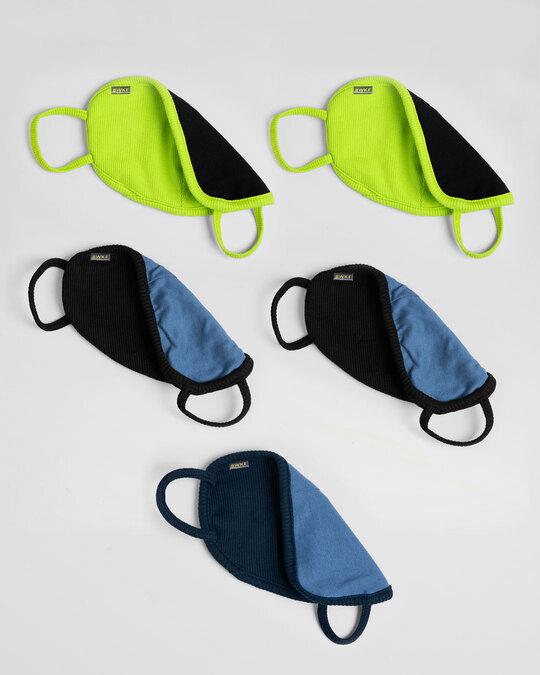 Shop 2-Layer Premium Protective Masks - Pack of 5 (Neon green*2-Jet Black*2-Navy blue)-Design