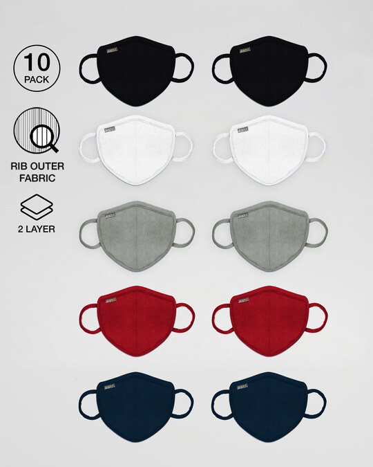 Shop 2 layer Premium Protective Masks Pack of 10 (Jet black*2-White*2- Meteor Grey*2- Bold Red*2-Navy Blue*2)-Front