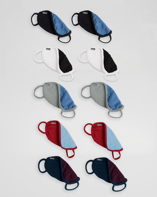 Shop 2 layer Premium Protective Masks Pack of 10 (Jet black*2-White*2- Meteor Grey*2- Bold Red*2-Navy Blue*2)-Full