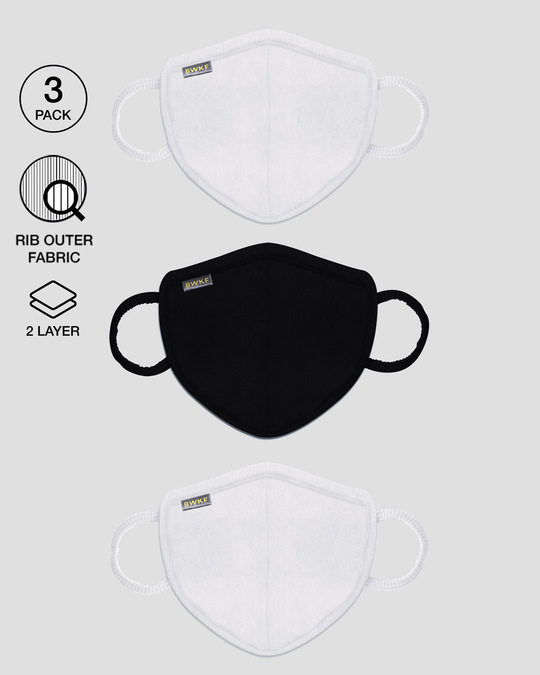 Shop 2-Layer Premium Protective Masks - Pack of 3 (White-Jet Black-White)-Front