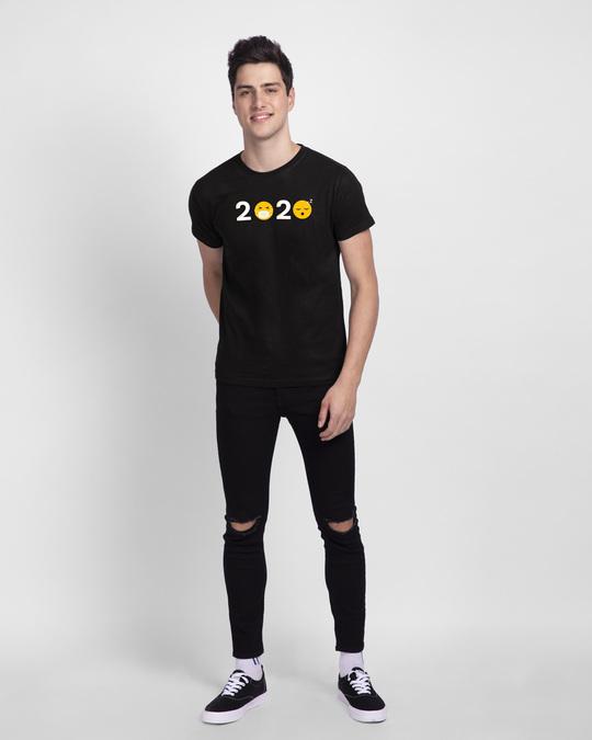 Shop 2020 Emojis Half Sleeve T-Shirt Black-Full