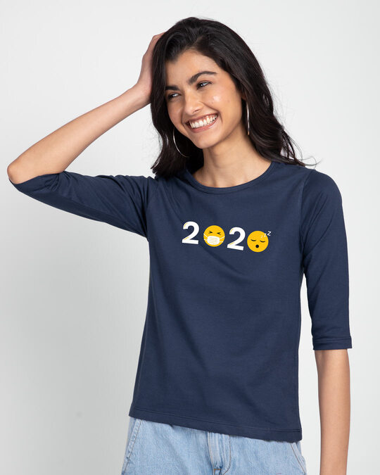 Shop 2020 Emojis Round Neck 3/4th Sleeve T-Shirt Galaxy Blue-Front