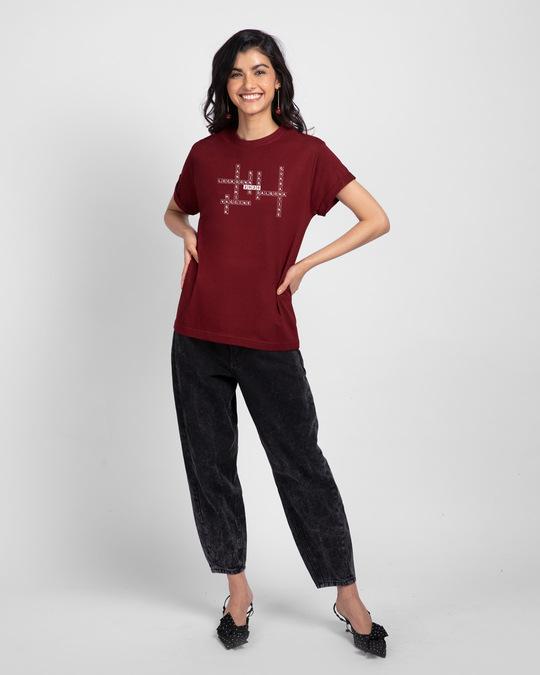 Shop 2020 Scrabble Boyfriend T-Shirt Scarlet Red-Full