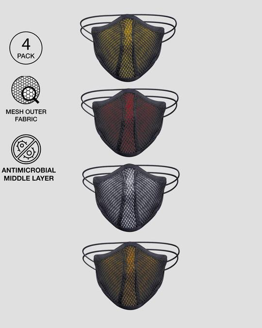 Shop 3-Layer Anti-Microbial Mask (Yellow, Red, White, Orange)-Front