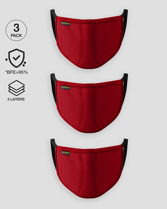 Shop 3 layer Premium Life Mask Combo of 3 (Bold Red)-Front