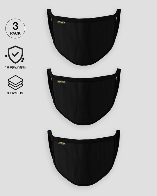 Shop 3 layer Premium Life Mask Combo of 3 (Jet Black)-Front