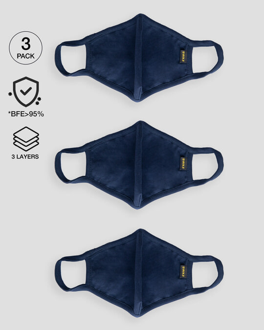 Shop 3 layer Premium Life Mask Combo of 3 (Navy Blue)-Front