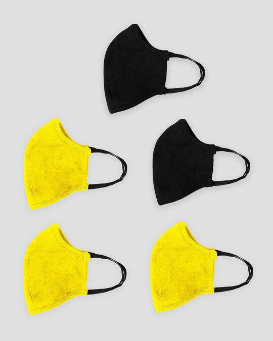 Shop 3 layer Premium Life Mask Combo of 5 (Jet Black*2- Pineapple yellow*3)-Design