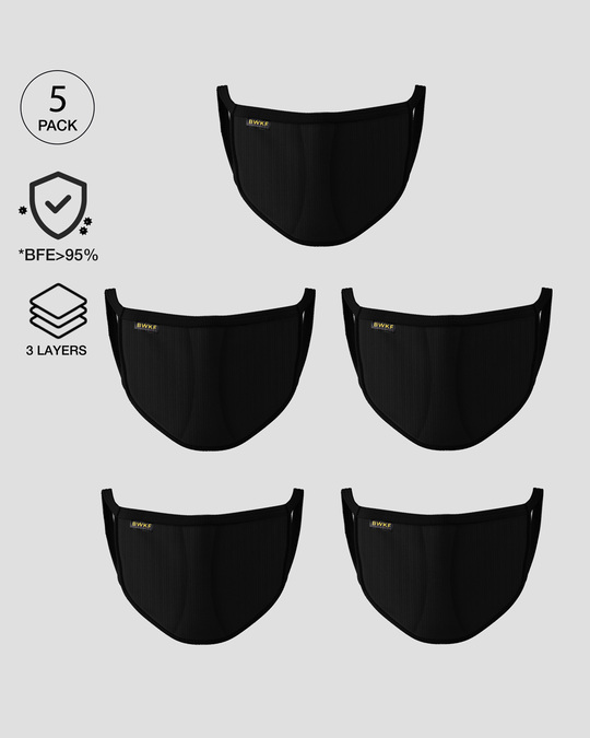 Shop 3 layer Reusable Life Mask Combo of 5 (Jet Black)-Front